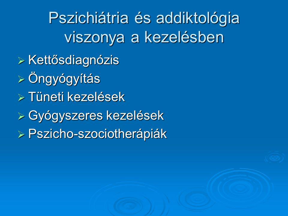 Pszichiátria és addiktológia viszonya a kezelésben  Kettősdiagnózis  Öngyógyítás  Tüneti kezelések  Gyógyszeres kezelések  Pszicho-szociotherápiák