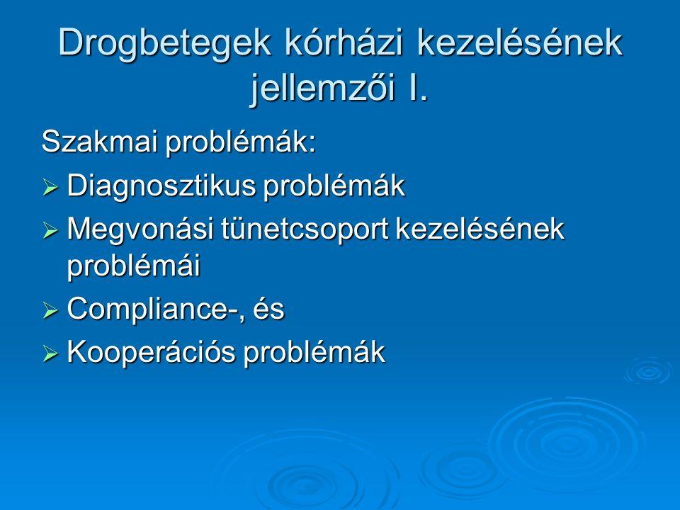 Drogbetegek kórházi kezelésének jellemzői I.