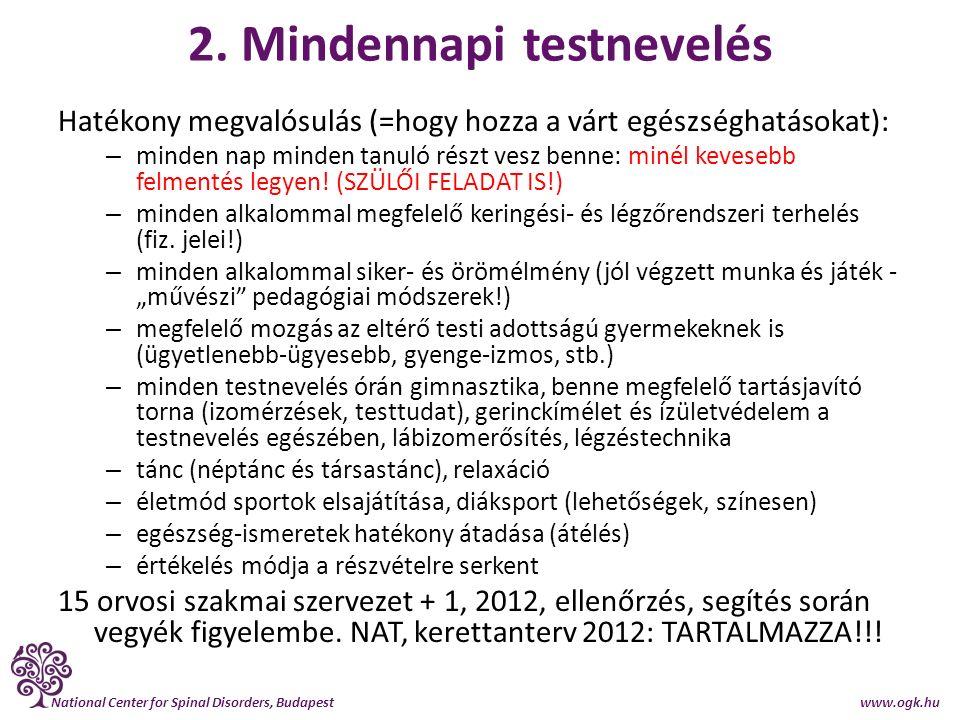 National Center for Spinal Disorders, Budapest www.ogk.hu Tárgyi és személyi feltételek Tornaterem-építésre szükség van, de a mindennapi testnevelés hiánya nagyobb baj, mint a tornateremé.