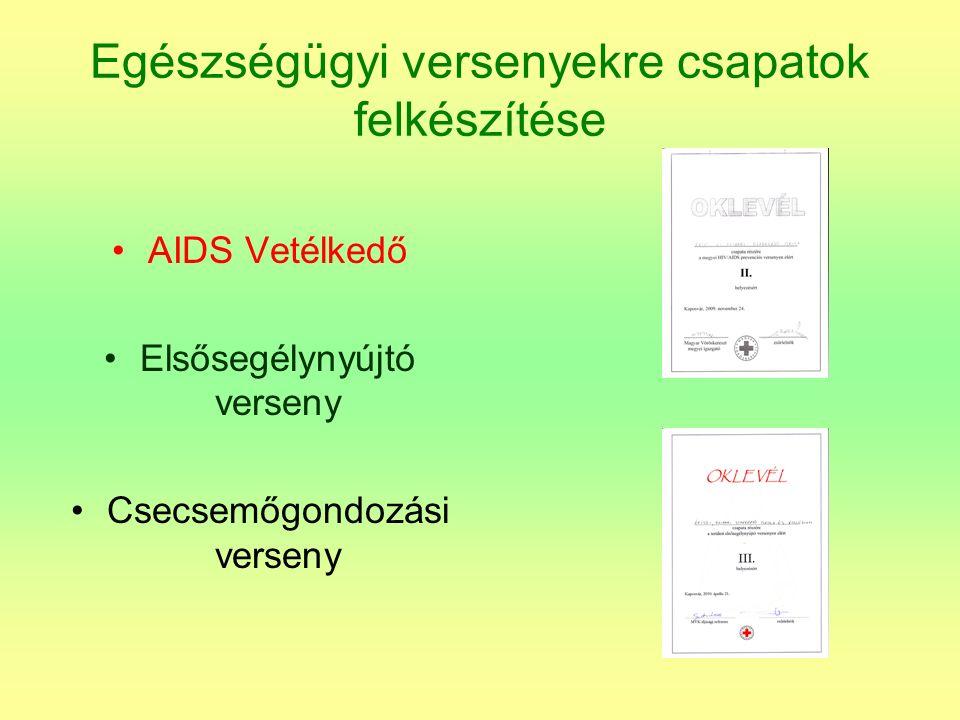 Egészségügyi versenyekre csapatok felkészítése AIDS Vetélkedő Elsősegélynyújtó verseny Csecsemőgondozási verseny