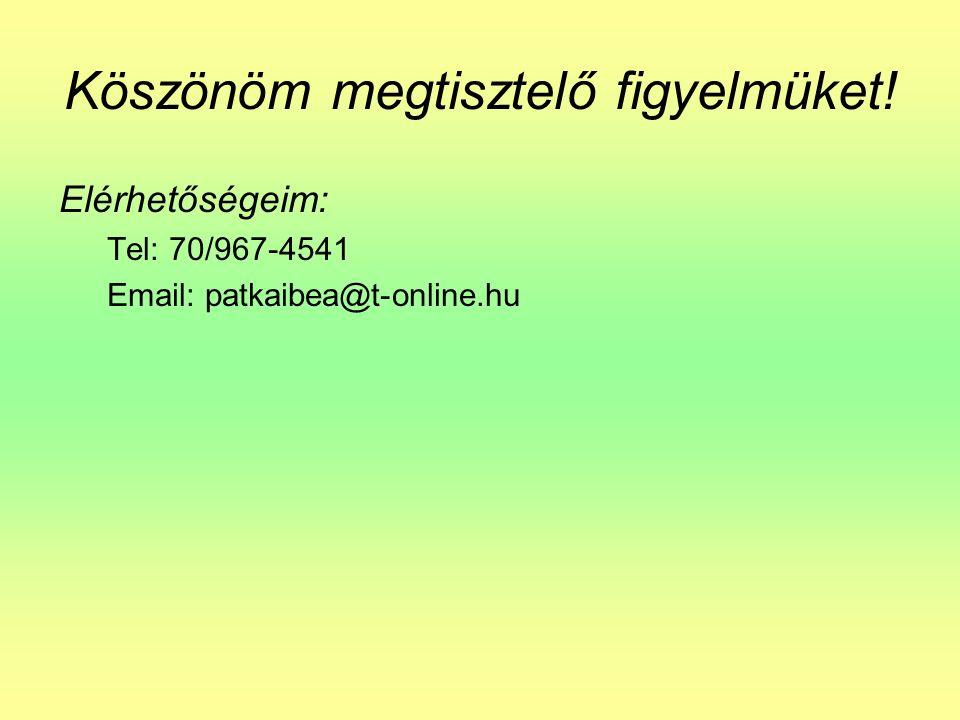 Köszönöm megtisztelő figyelmüket! Elérhetőségeim: Tel: 70/967-4541 Email: patkaibea@t-online.hu