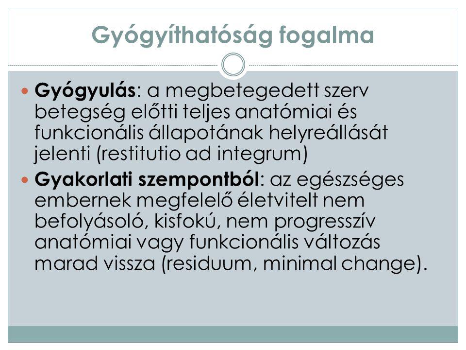 Gyógyíthatóság fogalma Gyógyulás : a megbetegedett szerv betegség előtti teljes anatómiai és funkcionális állapotának helyreállását jelenti (restitutio ad integrum) Gyakorlati szempontból : az egészséges embernek megfelelő életvitelt nem befolyásoló, kisfokú, nem progresszív anatómiai vagy funkcionális változás marad vissza (residuum, minimal change).