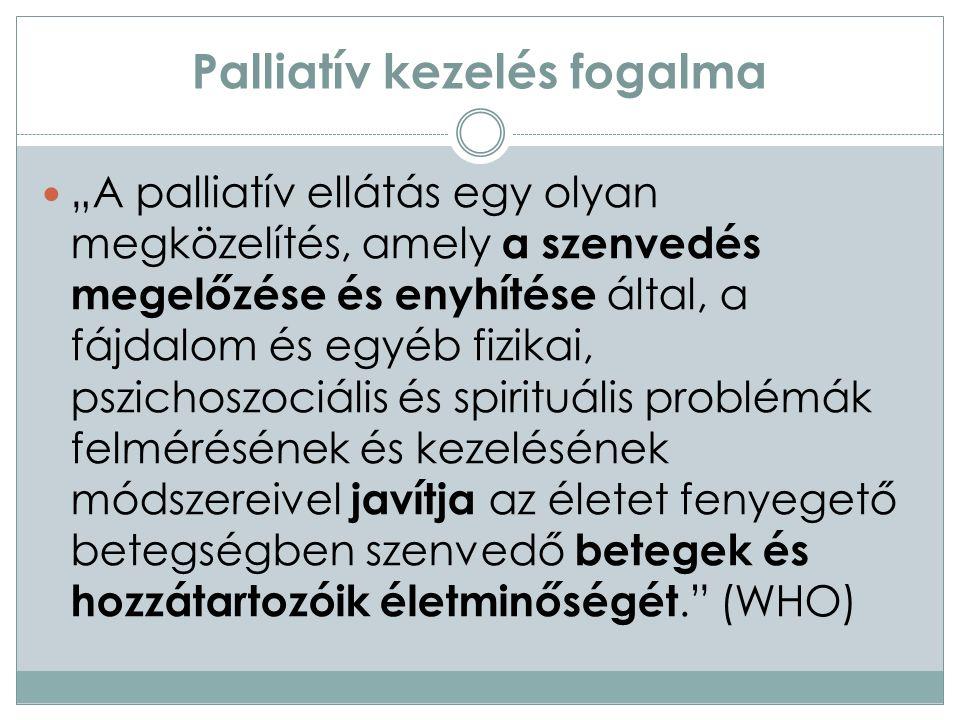Palliatív ellátás körébe tartozó betegek 1.senyvesztő, legtöbbször malignus megbetegedés (rák); 2.