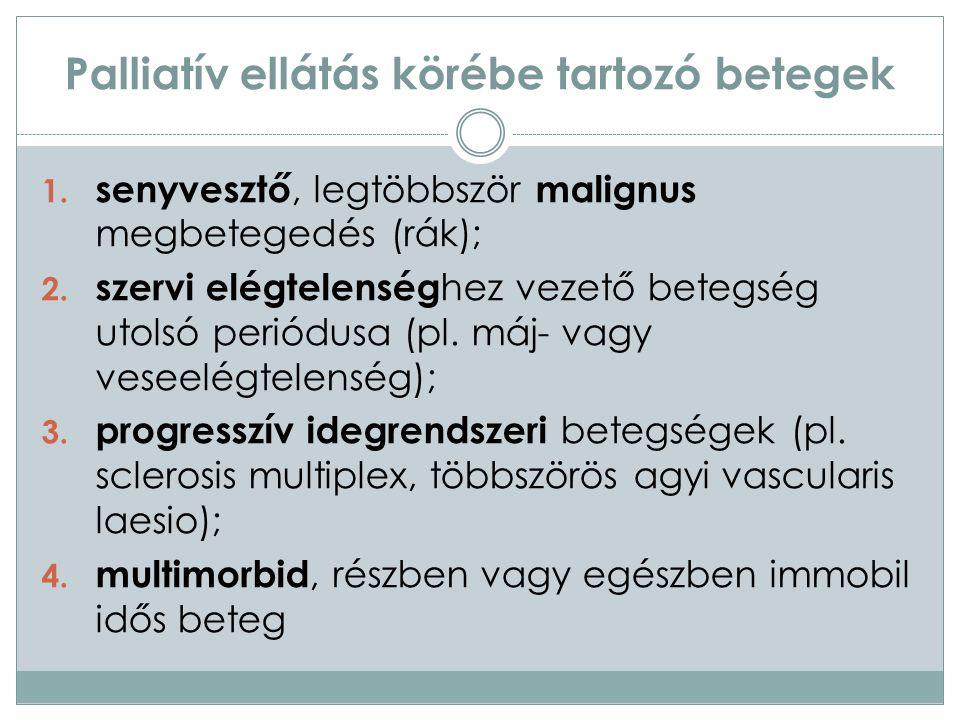 Palliatív ellátás körébe tartozó betegek 1. senyvesztő, legtöbbször malignus megbetegedés (rák); 2.