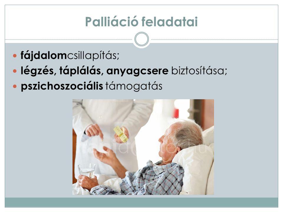 """Fájdalom Palliatív ellátásban a betegek 75-80%-át érinti Anamnézisfelvétel, vizsgálat A beteg határozza meg a fájdalom intenzitását (10 fokozatú """"Visual Analoque Seele skála ) Csillapítása 3 fokozatban ( WHO ladder ) 1."""