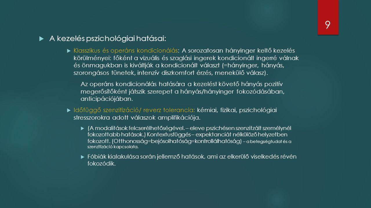 A kezelés pszichológiai hatásai:  Klasszikus és operáns kondicionálás: A sorozatosan hányinger keltő kezelés körülményei: főként a vizuális és szag