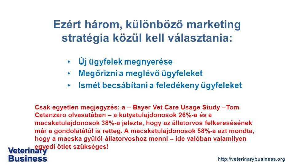 http://veterinarybusiness.org Új ügyfelek megnyerése Megőrizni a meglévő ügyfeleket Ismét becsábítani a feledékeny ügyfeleket Csak egyetlen megjegyzés: a – Bayer Vet Care Usage Study –Tom Catanzaro olvasatában – a kutyatulajdonosok 26%-a és a macskatulajdonosok 38%-a jelezte, hogy az állatorvos felkeresésének már a gondolatától is retteg.