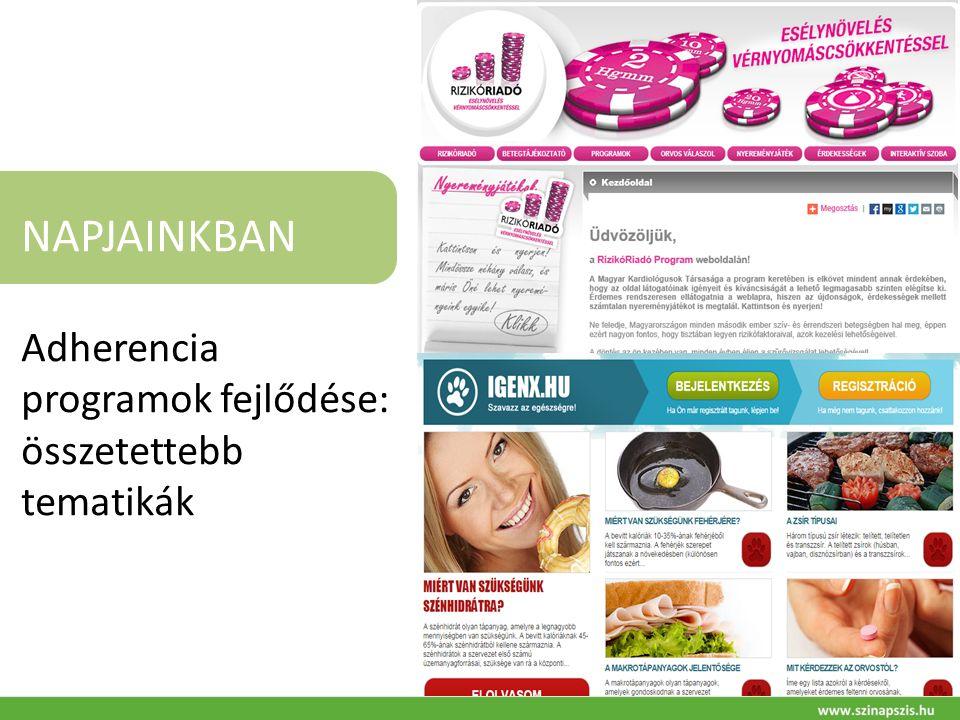 NAPJAINKBAN Adherencia programok fejlődése: összetettebb tematikák