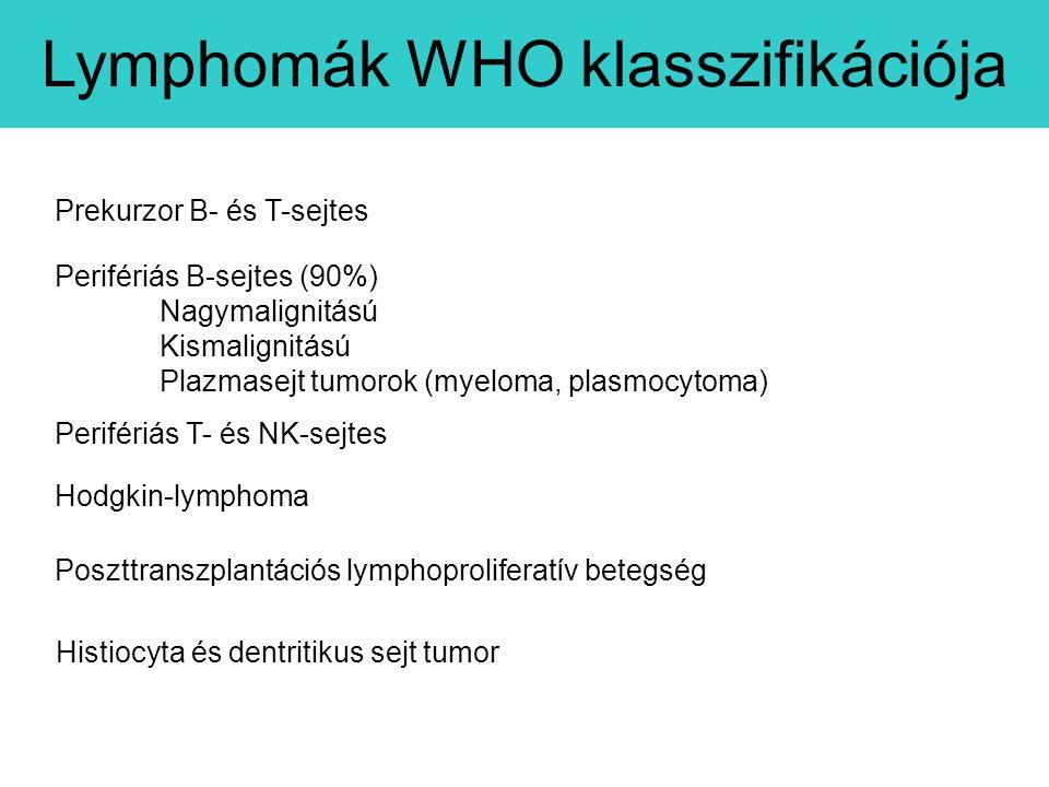 Perifériás B-sejtes (90%) Nagymalignitású Kismalignitású Plazmasejt tumorok (myeloma, plasmocytoma) Perifériás T- és NK-sejtes Prekurzor B- és T-sejtes Hodgkin-lymphoma Histiocyta és dentritikus sejt tumor Poszttranszplantációs lymphoproliferatív betegség Lymphomák WHO klasszifikációja