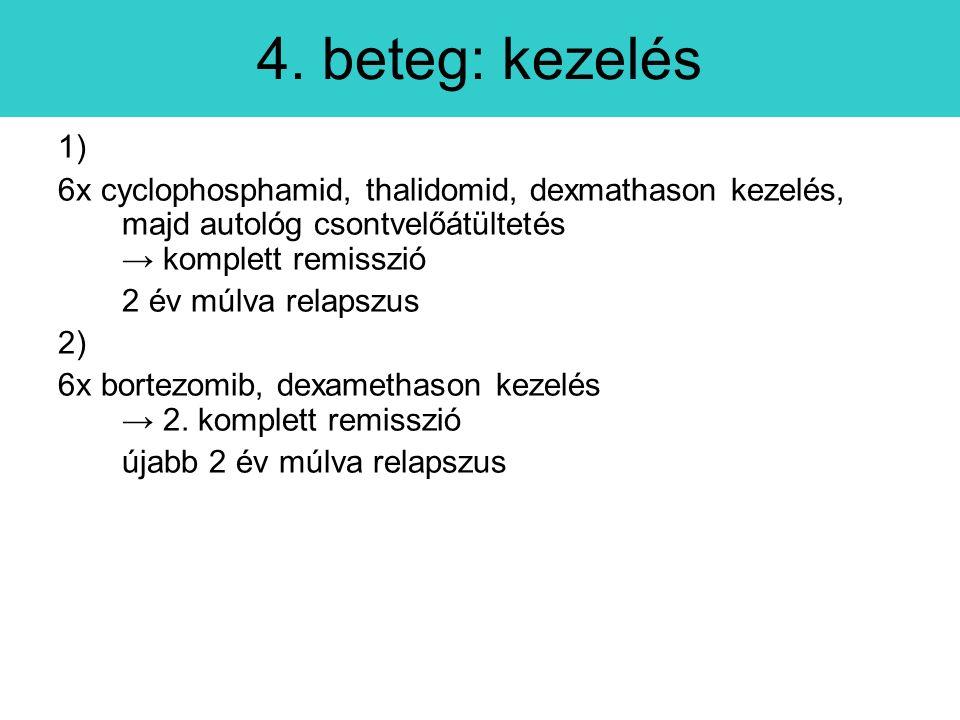 1) 6x cyclophosphamid, thalidomid, dexmathason kezelés, majd autológ csontvelőátültetés → komplett remisszió 2 év múlva relapszus 2) 6x bortezomib, dexamethason kezelés → 2.