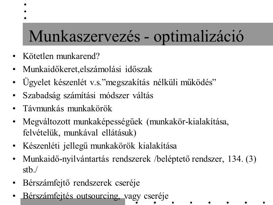 Munkaszervezés - optimalizáció Kötetlen munkarend.