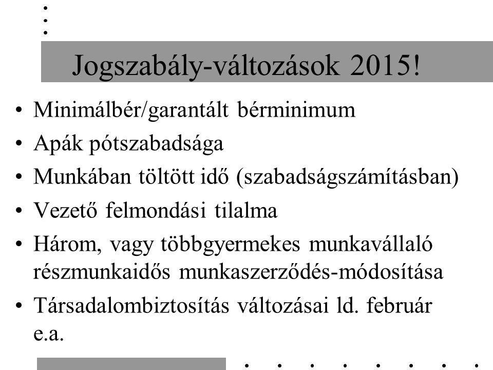 Jogszabály-változások 2015.