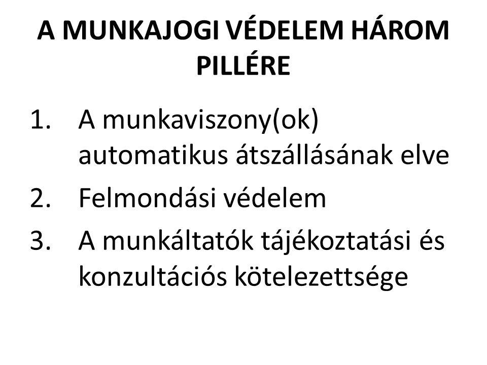 A MUNKAJOGI VÉDELEM HÁROM PILLÉRE 1.A munkaviszony(ok) automatikus átszállásának elve 2.Felmondási védelem 3.A munkáltatók tájékoztatási és konzultációs kötelezettsége