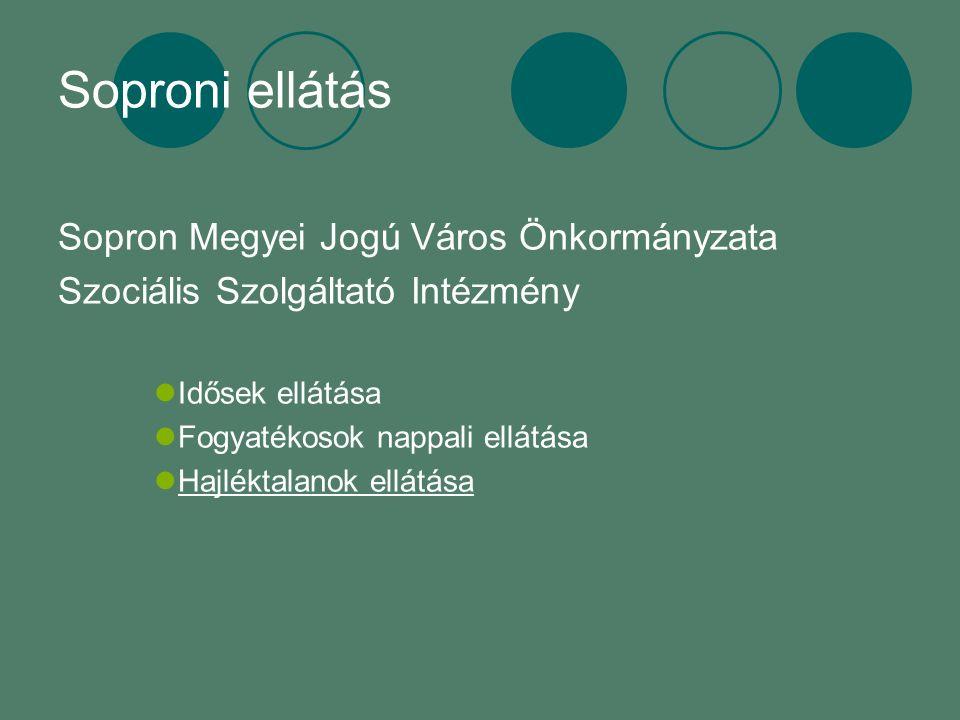 Soproni ellátás Sopron Megyei Jogú Város Önkormányzata Szociális Szolgáltató Intézmény Idősek ellátása Fogyatékosok nappali ellátása Hajléktalanok ellátása