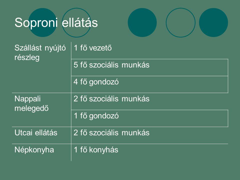 Soproni ellátás Szállást nyújtó részleg 1 fő vezető 5 fő szociális munkás 4 fő gondozó Nappali melegedő 2 fő szociális munkás 1 fő gondozó Utcai ellátás2 fő szociális munkás Népkonyha1 fő konyhás