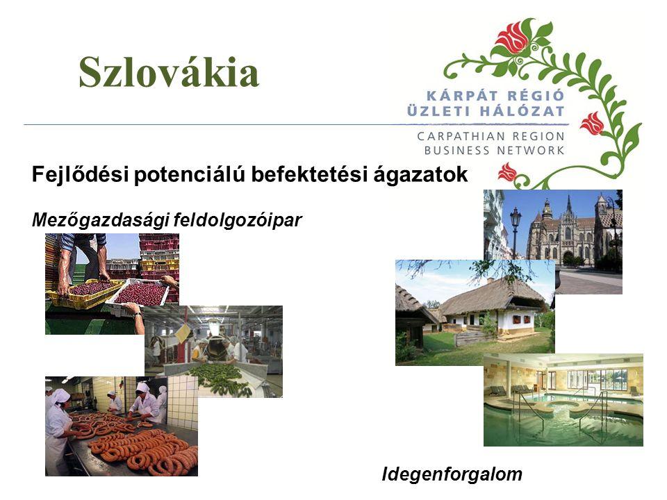 Szlovákia Szlovákiába irányuló exportlehetőségek Élelmiszeripar Gépipar és fémipar