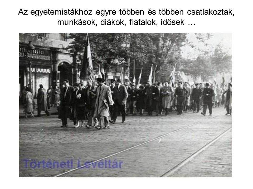 A Petőfi szobornál a diákok felolvasták 16 pontos követelésüket, majd Sinkovits Imre elszavalta a Nemzeti Dalt