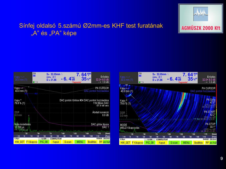 """Sínfej oldalsó 5.számú Ø2mm-es KHF test furatának """"A és """"PA képe 9"""