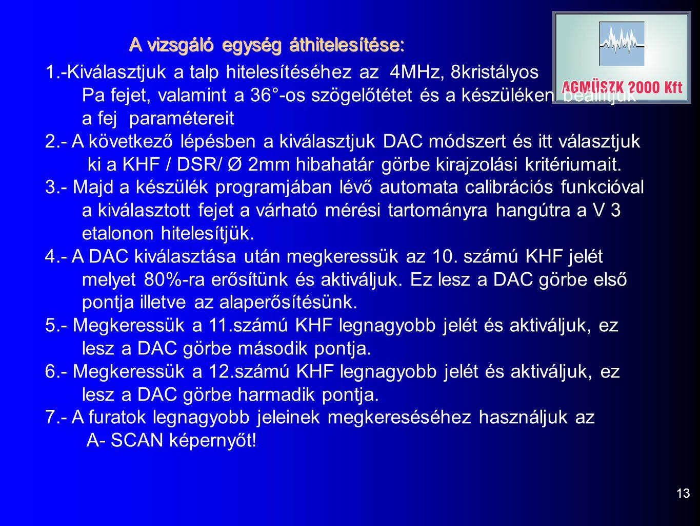 13 A vizsgáló egység áthitelesítése: 1.-Kiválasztjuk a talp hitelesítéséhez az 4MHz, 8kristályos Pa fejet, valamint a 36°-os szögelőtétet és a készüléken beállítjuk a fej paramétereit 2.- A következő lépésben a kiválasztjuk DAC módszert és itt választjuk ki a KHF / DSR/ Ø 2mm hibahatár görbe kirajzolási kritériumait.