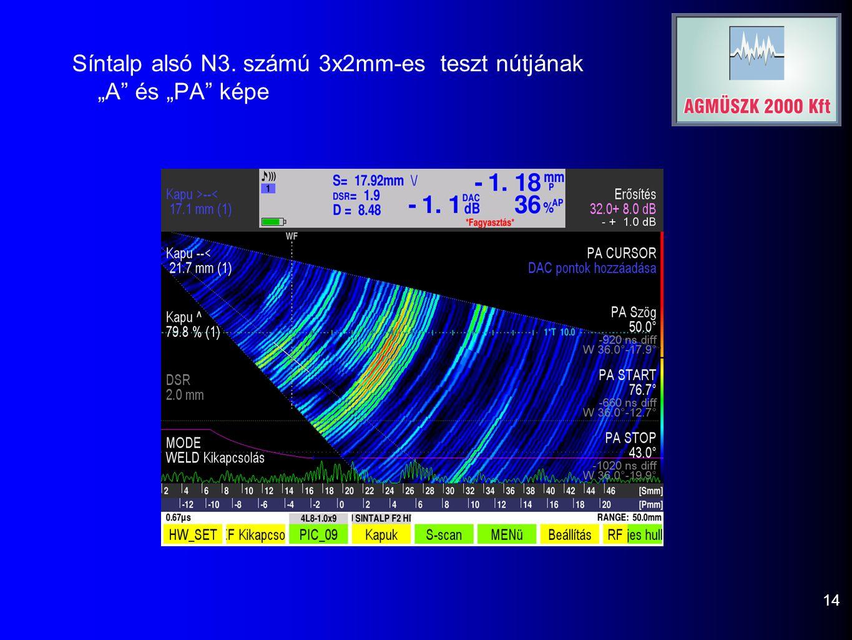 """Síntalp alsó N3. számú 3x2mm-es teszt nútjának """"A és """"PA képe 14"""
