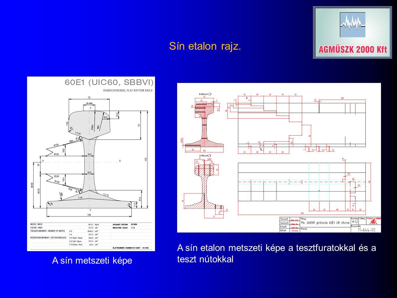 Sín etalon rajz. A sín metszeti képe A sín etalon metszeti képe a tesztfuratokkal és a teszt nútokkal