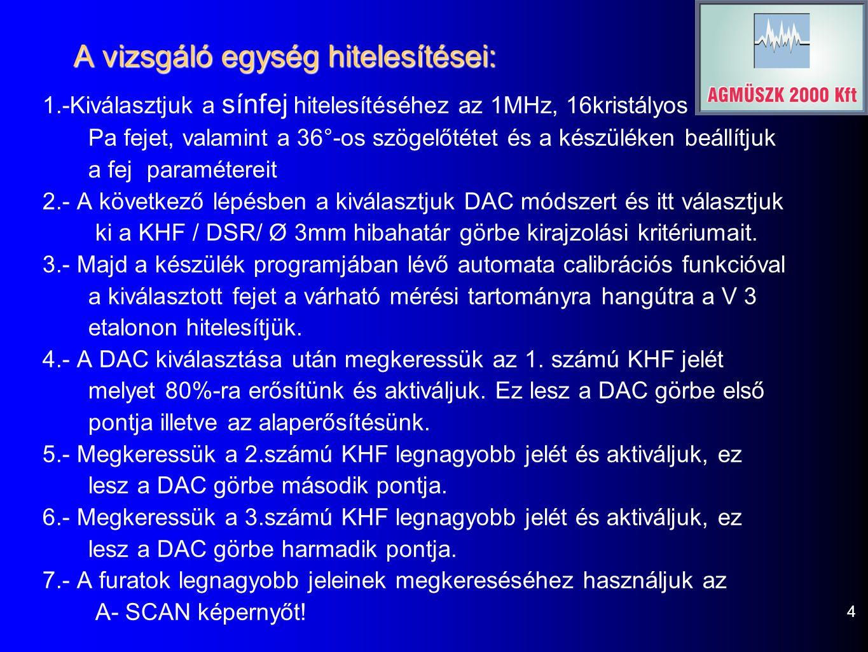 A vizsgáló egység hitelesítései: 1.-Kiválasztjuk a sínfej hitelesítéséhez az 1MHz, 16kristályos Pa fejet, valamint a 36°-os szögelőtétet és a készüléken beállítjuk a fej paramétereit 2.- A következő lépésben a kiválasztjuk DAC módszert és itt választjuk ki a KHF / DSR/ Ø 3mm hibahatár görbe kirajzolási kritériumait.