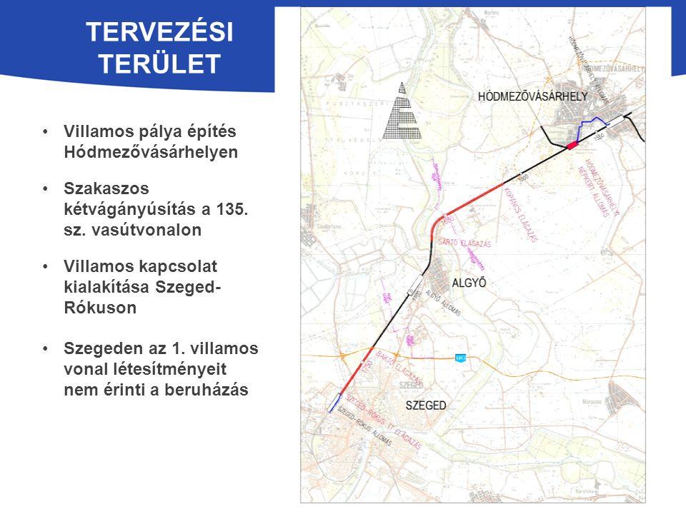 TERVEZÉSI TERÜLET Villamos pálya építés Hódmezővásárhelyen Szakaszos kétvágányúsítás a 135.