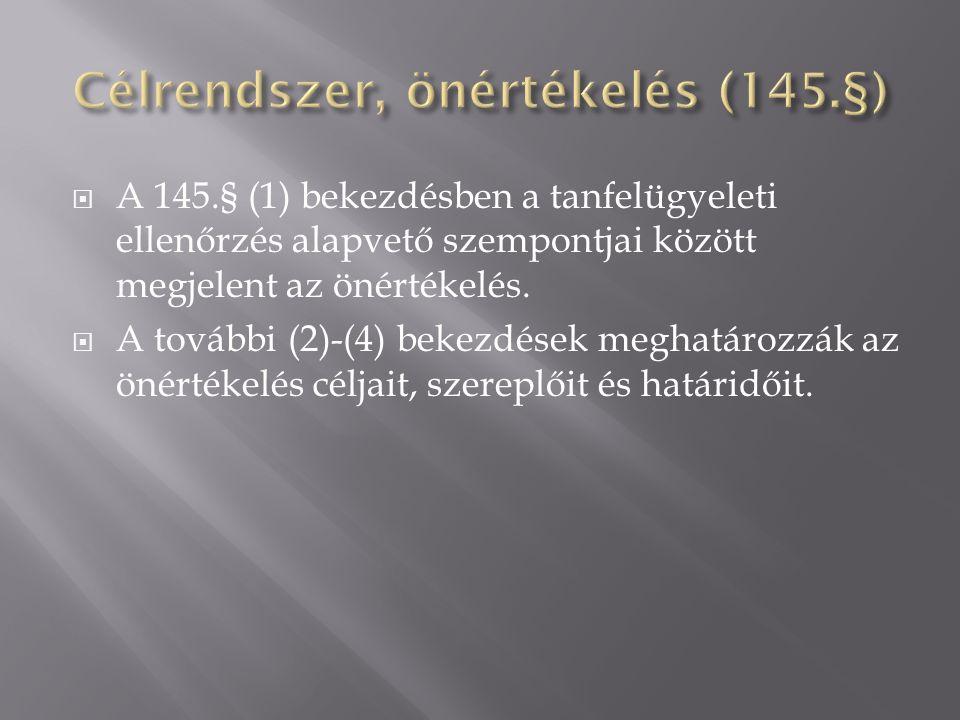 A 145.§ (1) bekezdésben a tanfelügyeleti ellenőrzés alapvető szempontjai között megjelent az önértékelés.