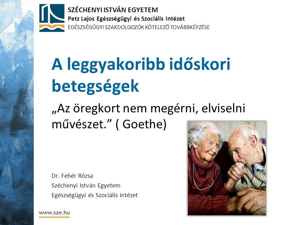 SZÉCHENYI ISTVÁN EGYETEM Petz Lajos Egészségügyi és Szociális Intézet EGÉSZSÉGÜGYI SZAKDOLGOZÓK KÖTELEZŐ TOVÁBBKÉPZÉSE A leggyakoribb időskori betegsé