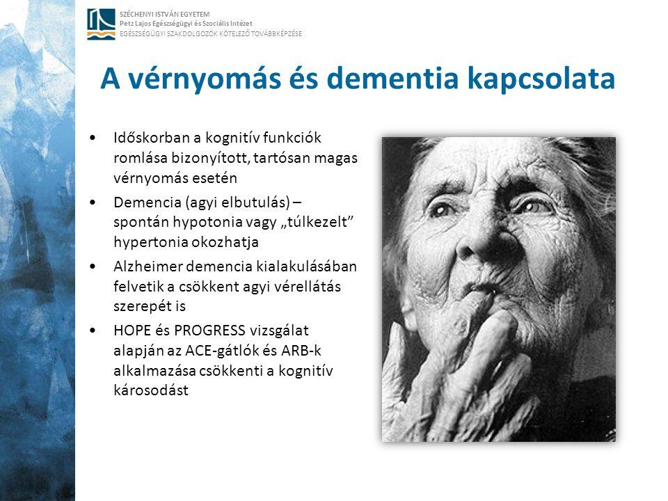SZÉCHENYI ISTVÁN EGYETEM Petz Lajos Egészségügyi és Szociális Intézet EGÉSZSÉGÜGYI SZAKDOLGOZÓK KÖTELEZŐ TOVÁBBKÉPZÉSE A vérnyomás és dementia kapcsol