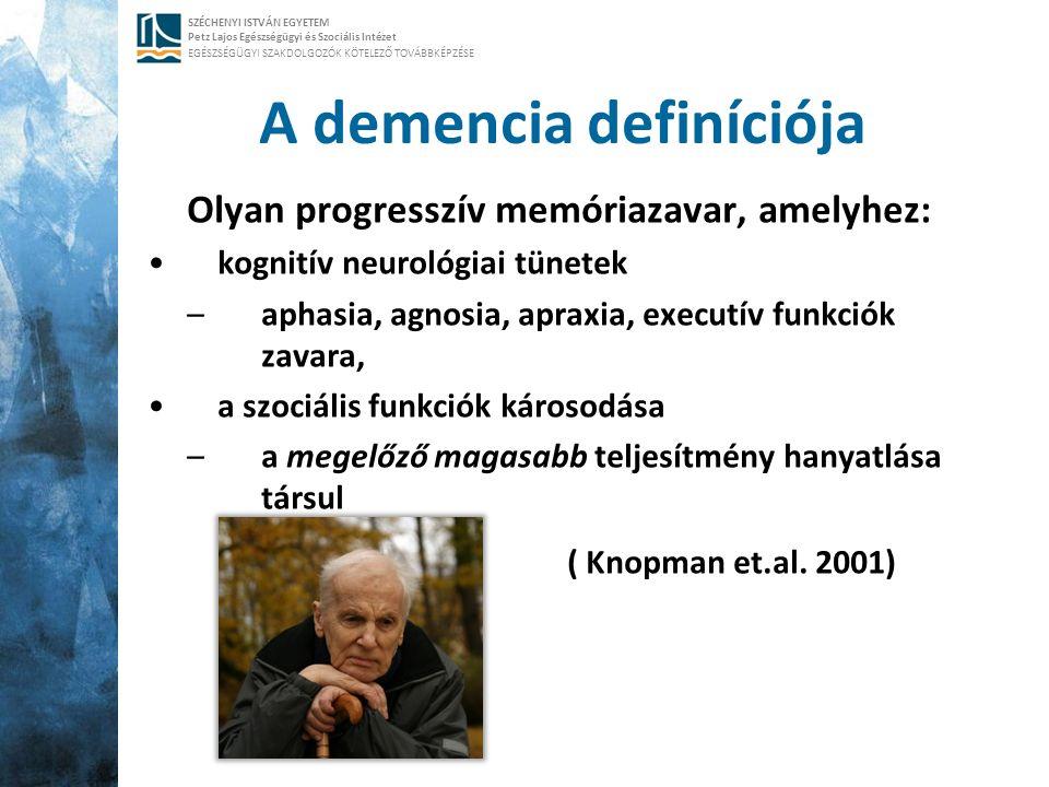SZÉCHENYI ISTVÁN EGYETEM Petz Lajos Egészségügyi és Szociális Intézet EGÉSZSÉGÜGYI SZAKDOLGOZÓK KÖTELEZŐ TOVÁBBKÉPZÉSE A demencia definíciója Olyan pr