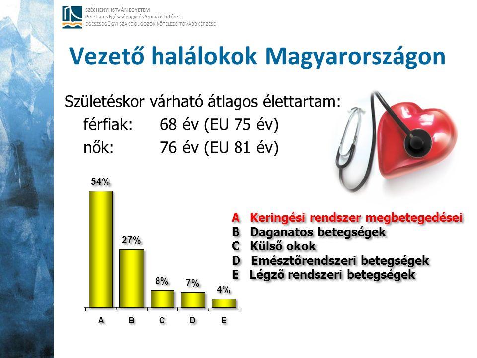SZÉCHENYI ISTVÁN EGYETEM Petz Lajos Egészségügyi és Szociális Intézet EGÉSZSÉGÜGYI SZAKDOLGOZÓK KÖTELEZŐ TOVÁBBKÉPZÉSE Vezető halálokok Magyarországon