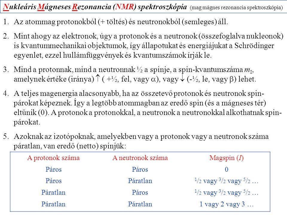 Nukleáris Mágneses Rezonancia (NMR) spektroszkópia (mag mágnes rezonancia spektroszkópia) 1.Az atommag protonokból (+ töltés) és neutronokból (semlege