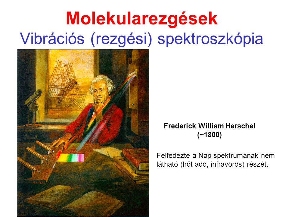 Molekularezgések Vibrációs (rezgési) spektroszkópia Frederick William Herschel (~1800) Felfedezte a Nap spektrumának nem látható (hőt adó, infravörös) részét.