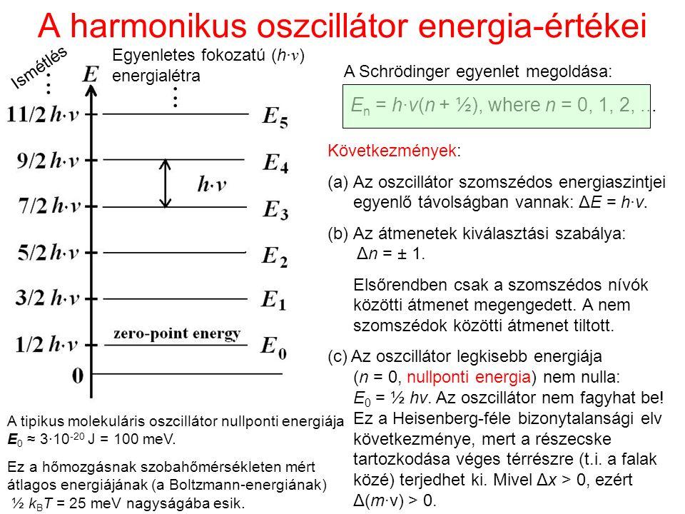 A harmonikus oszcillátor energia-értékei A Schrödinger egyenlet megoldása: E n = h·ν(n + ½), where n = 0, 1, 2,... Következmények: (a)Az oszcillátor s