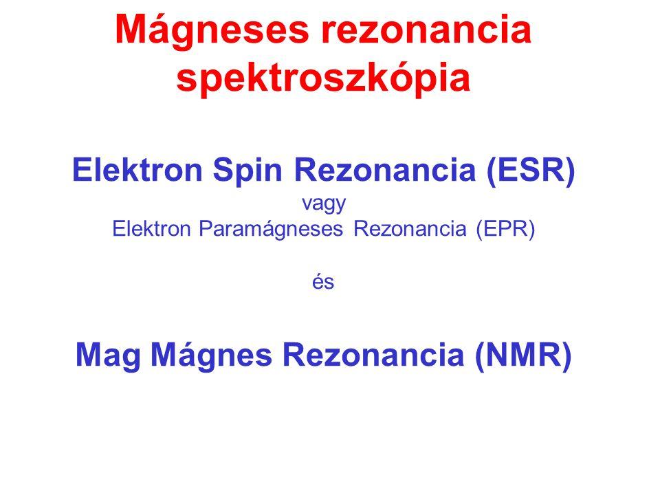 Mágneses rezonancia spektroszkópia Elektron Spin Rezonancia (ESR) vagy Elektron Paramágneses Rezonancia (EPR) és Mag Mágnes Rezonancia (NMR)