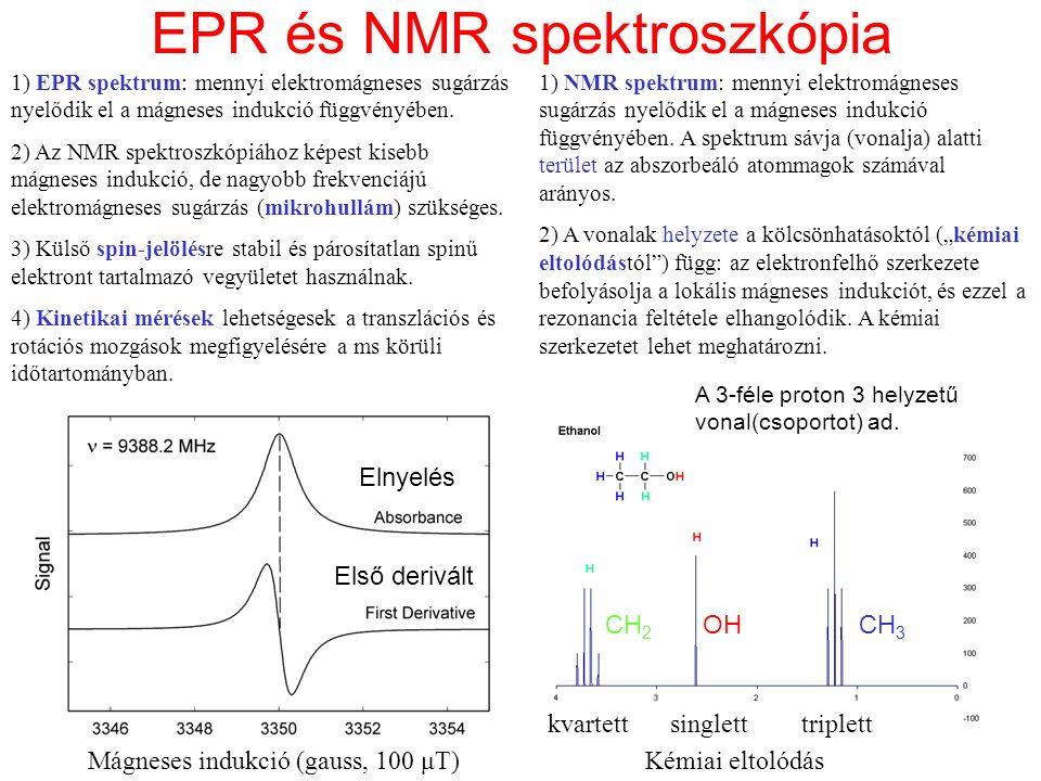 EPR és NMR spektroszkópia Mágneses indukció (gauss, 100 μT) Elnyelés Első derivált singletttriplettkvartett Kémiai eltolódás 1) EPR spektrum: mennyi e