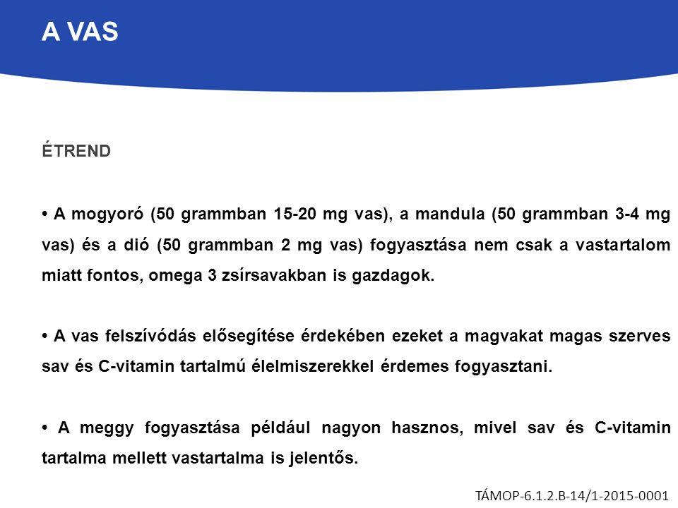 A VAS ÉTREND A mogyoró (50 grammban 15-20 mg vas), a mandula (50 grammban 3-4 mg vas) és a dió (50 grammban 2 mg vas) fogyasztása nem csak a vastartalom miatt fontos, omega 3 zsírsavakban is gazdagok.