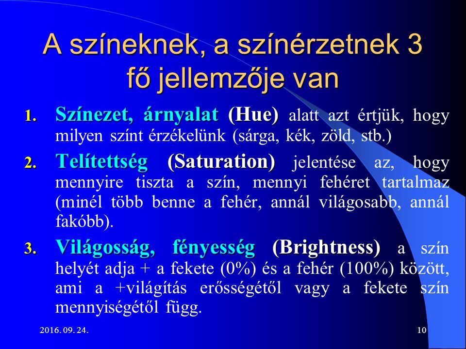 2016. 09. 24.10 A színeknek, a színérzetnek 3 fő jellemzője van 1. Színezet, árnyalat (Hue) 1. Színezet, árnyalat (Hue) alatt azt értjük, hogy milyen