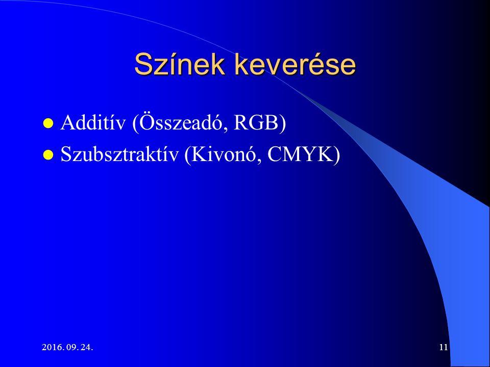 2016. 09. 24.11 Színek keverése Additív (Összeadó, RGB) Szubsztraktív (Kivonó, CMYK)