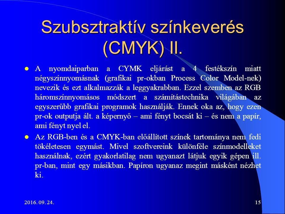 2016. 09. 24.15 Szubsztraktív színkeverés (CMYK) II. A nyomdaiparban a CYMK eljárást a 4 festékszín miatt négyszínnyomásnak (grafikai pr-okban Process