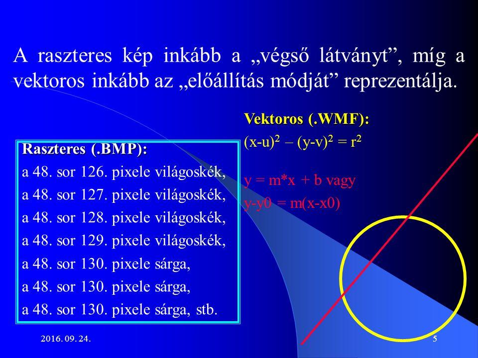 """2016. 09. 24.5 A raszteres kép inkább a """"végső látványt"""", míg a vektoros inkább az """"előállítás módját"""" reprezentálja. Raszteres (.BMP): a 48. sor 126."""