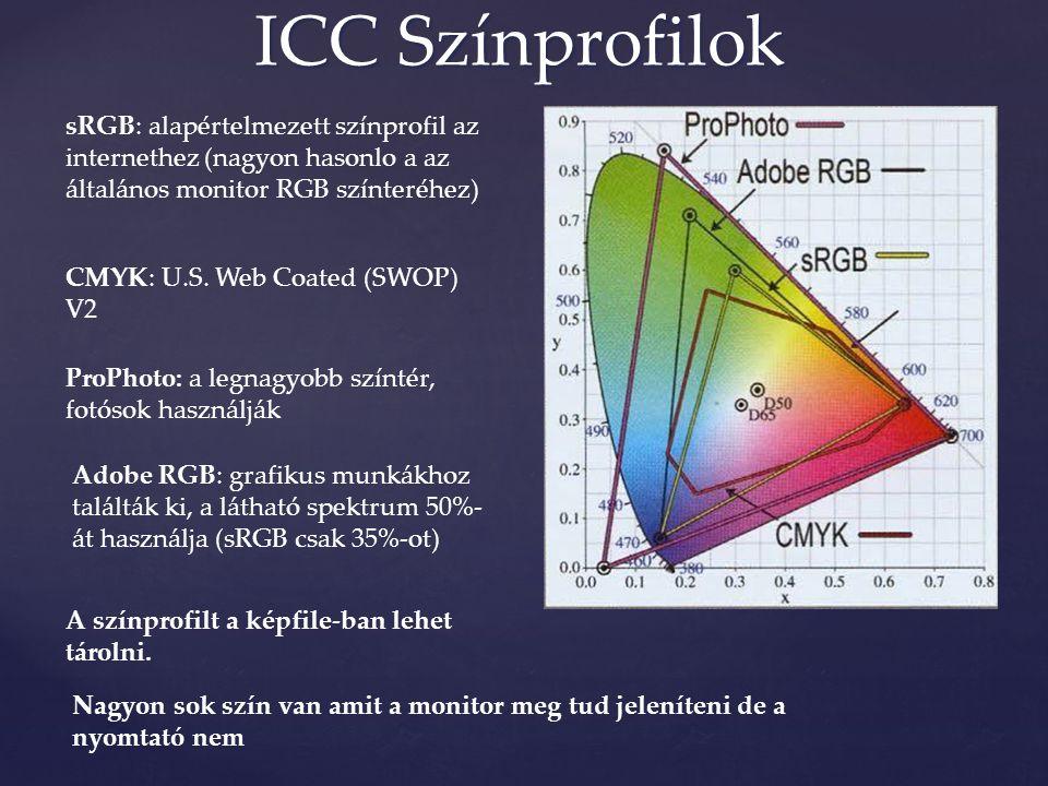 sRGB: alapértelmezett színprofil az internethez (nagyon hasonlo a az általános monitor RGB színteréhez) Adobe RGB: grafikus munkákhoz találták ki, a látható spektrum 50%- át használja (sRGB csak 35%-ot) ProPhoto: a legnagyobb színtér, fotósok használják A színprofilt a képfile-ban lehet tárolni.