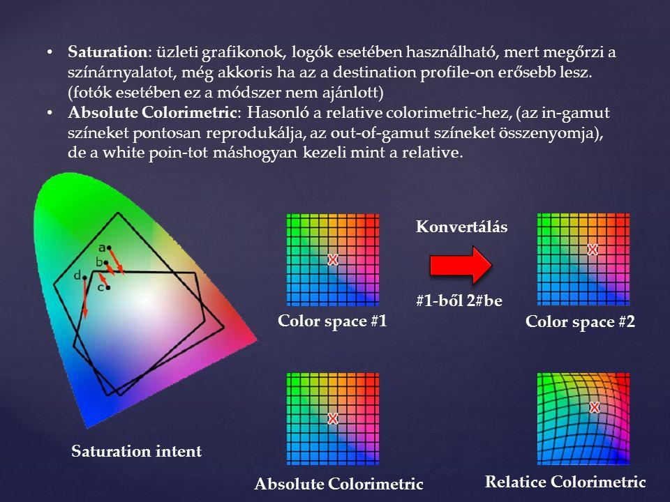 Saturation: üzleti grafikonok, logók esetében használható, mert megőrzi a színárnyalatot, még akkoris ha az a destination profile-on erősebb lesz.