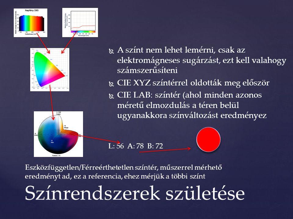  A színt nem lehet lemérni, csak az elektromágneses sugárzást, ezt kell valahogy számszerűsíteni  CIE XYZ színtérrel oldották meg először  CIE LAB: