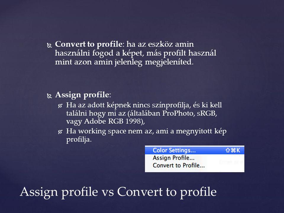  Convert to profile: ha az eszköz amin használni fogod a képet, más profilt használ mint azon amin jelenleg megjeleníted.  Assign profile:  Ha az a