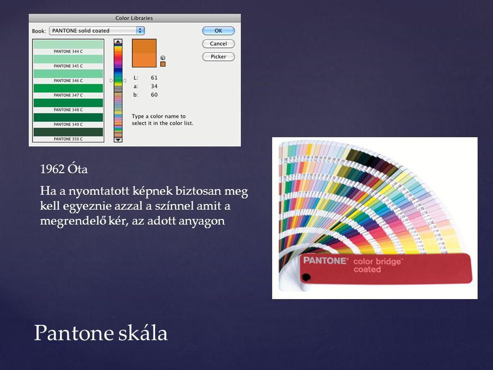 Pantone skála 1962 Óta Ha a nyomtatott képnek biztosan meg kell egyeznie azzal a színnel amit a megrendelő kér, az adott anyagon