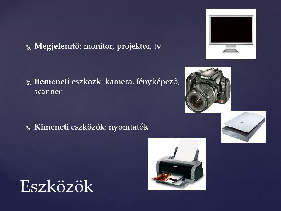  Megjelenítő: monitor, projektor, tv  Bemeneti eszközk: kamera, fényképező, scanner  Kimeneti eszközök: nyomtatók Eszközök
