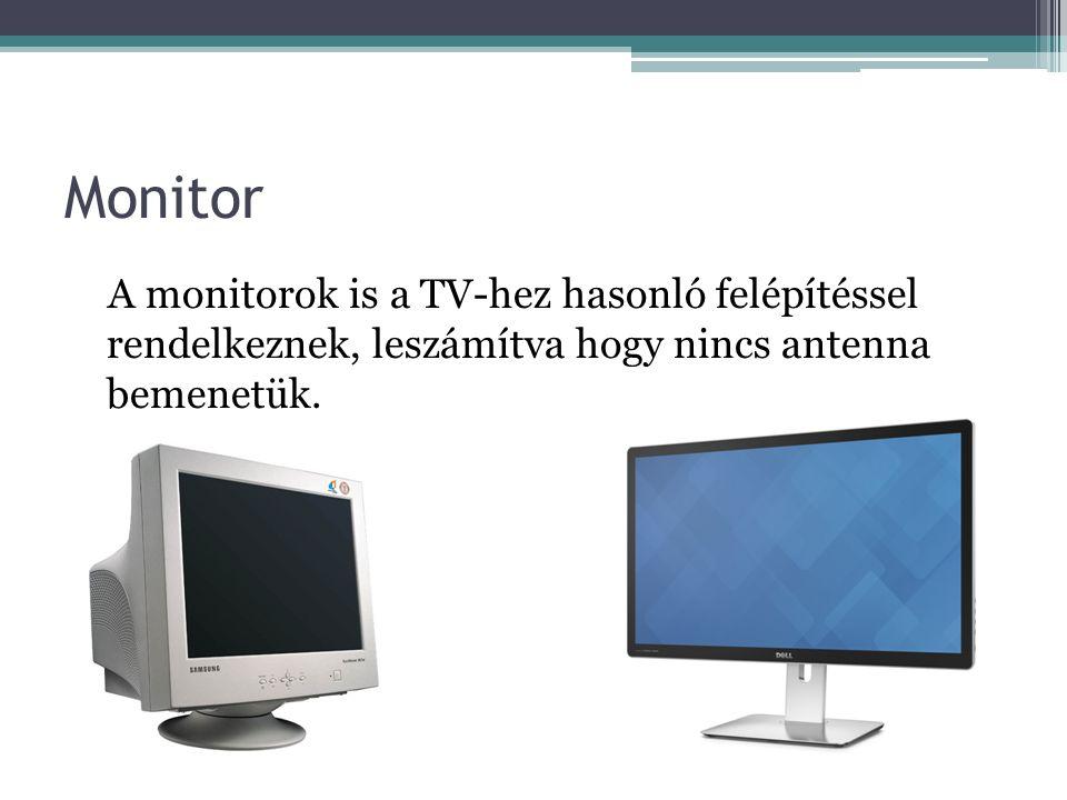 Monitor A monitorok is a TV-hez hasonló felépítéssel rendelkeznek, leszámítva hogy nincs antenna bemenetük.