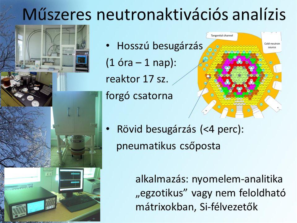 Műszeres neutronaktivációs analízis Hosszú besugárzás (1 óra – 1 nap): reaktor 17 sz.